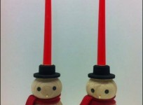 Hand Turned Wooden Snowmen Candle holders