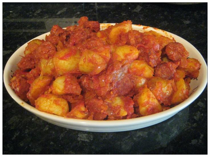 Potatas Bravas with Chorizo