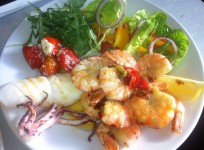 King Prawns & Squid with Salad